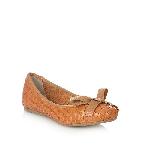Betty Jackson.Black - Tan woven leather pumps with bow trim