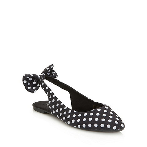 Red Herring - Black spotted slingback pumps