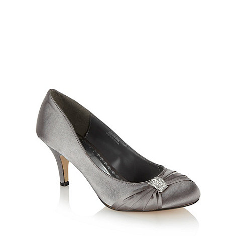 Debut - Metallic diamante bow mid heeled court shoes