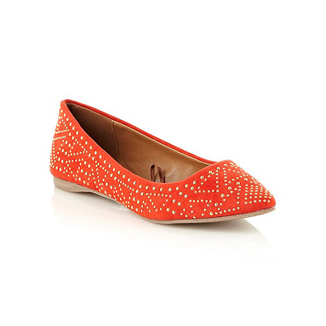 Red Herring - Red studded pointed toed pumps