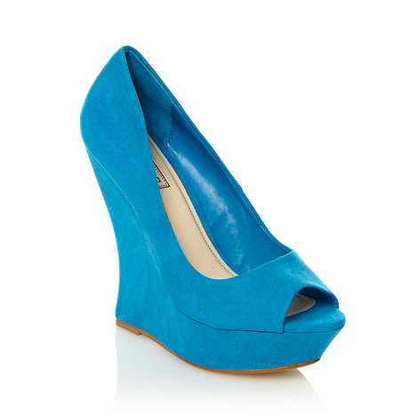 Red Herring - Blue peep toe curved wedges