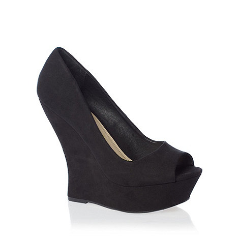 Red Herring - Black peep toe wedge shoes