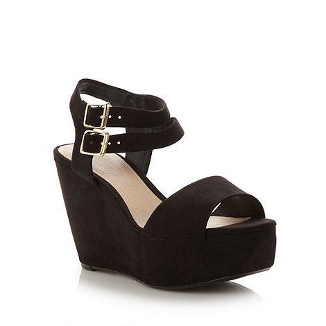 Red Herring - Black velvet high wedge heeled sandals