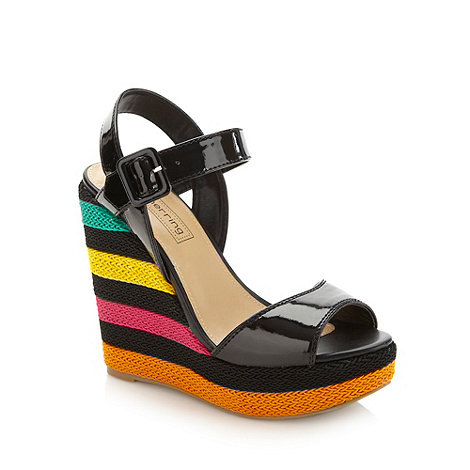 Red Herring - Black striped wedge heeled sandals