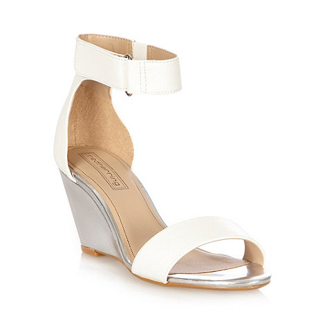 Red Herring - White metallic mid height heeled sandals