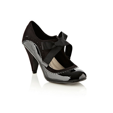 Good for the Sole - Black brogue trimmed wide fit mary jane shoes