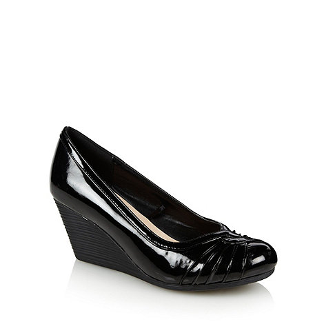 Good for the Sole - Black wide fit patent wedge heeled court shoes