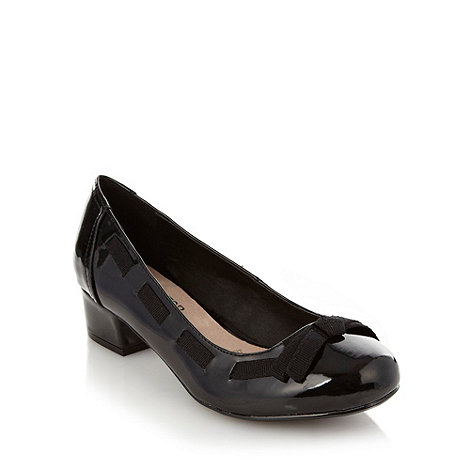 Good for the Sole - Black wide fit mid heeled shoes