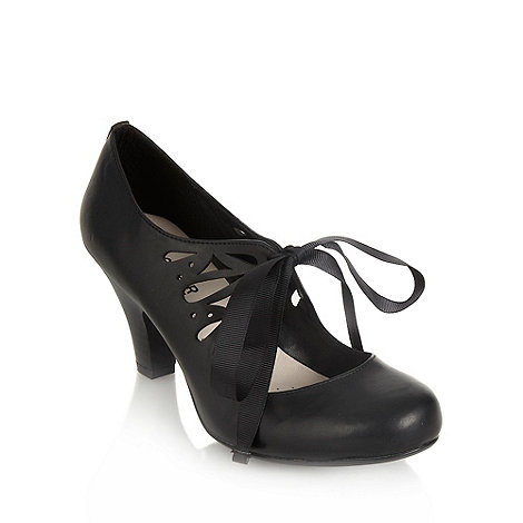 Good for the Sole - Black wide fit mid heel cutout lace up court shoes