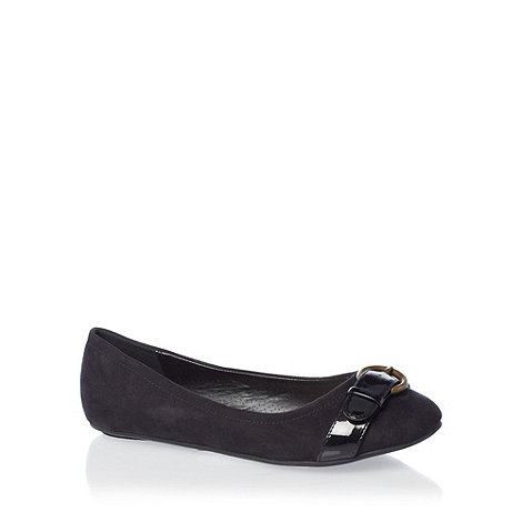 Good for the Sole - Black wide fit bow detail pumps