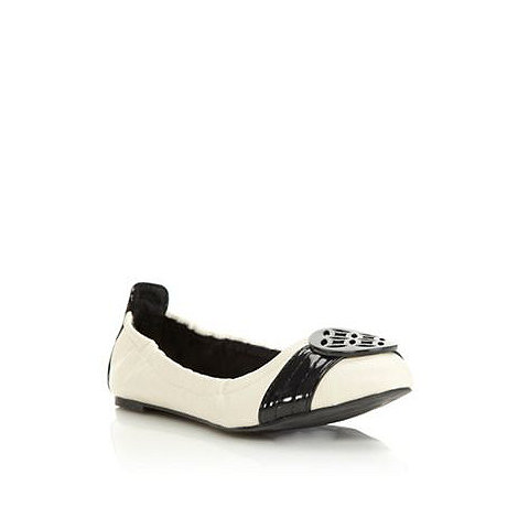 Collection Good for the Sole - Cream wider fit elasticated round toe ballet flats with Black wider fit strap detail