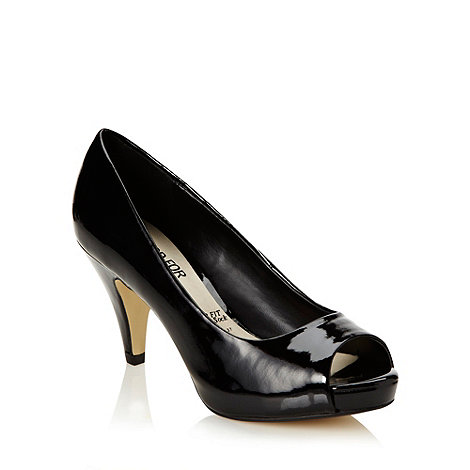 Good for the Sole - Black patent wide fit high peep toe court shoes