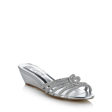 Good for the Sole - Silver diamante mini wedge wide fit sandals