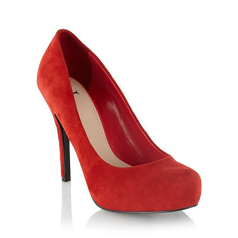 J by Jasper Conran - Red suede high heel platform court shoes