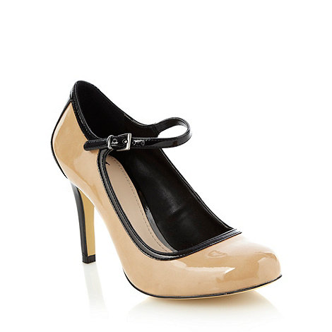 J by Jasper Conran - Beige high heel colour block patent court shoes