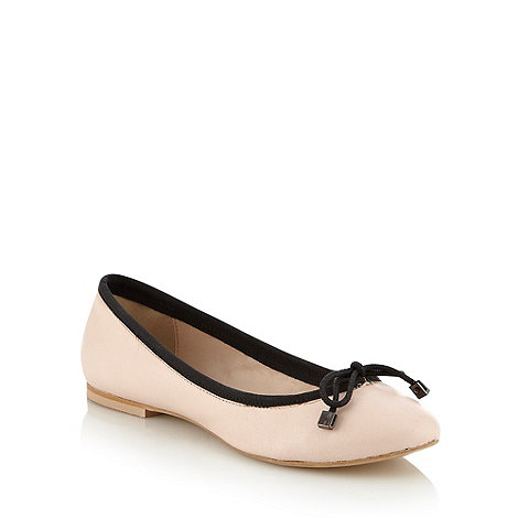 J by Jasper Conran - Pale pink leather bow ballet pumps