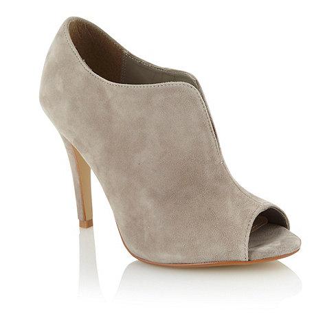 J by Jasper Conran - Light grey suede high heel peep toe shoe boots