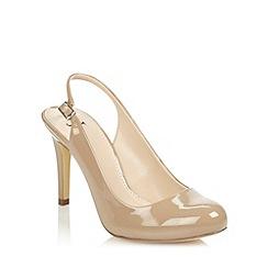 J by Jasper Conran - Beige patent high heel slingback court shoes