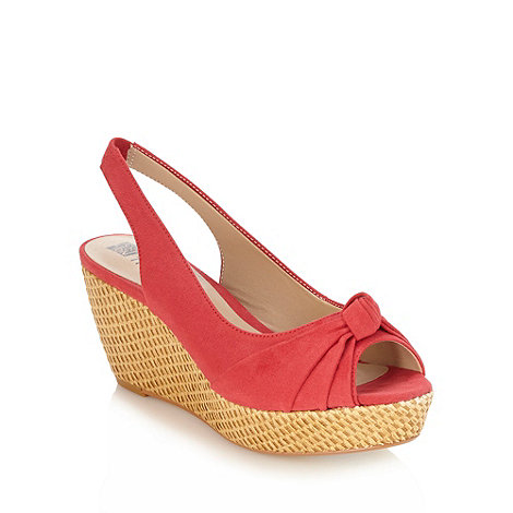 Good for the Sole - Red wide fit basket woven wedge court shoes