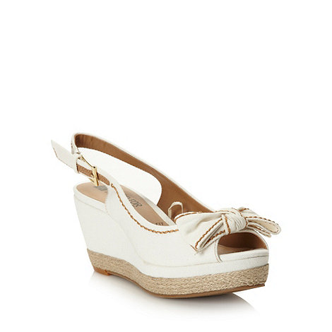 Good for the Sole - Natural stitched bow high wedge wide fit sandals
