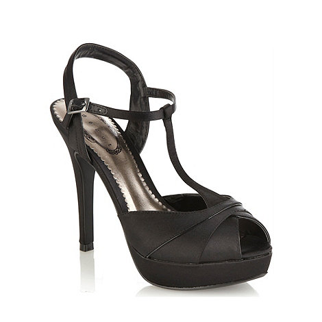 Debut - Black satin high heeled t-bar sandals