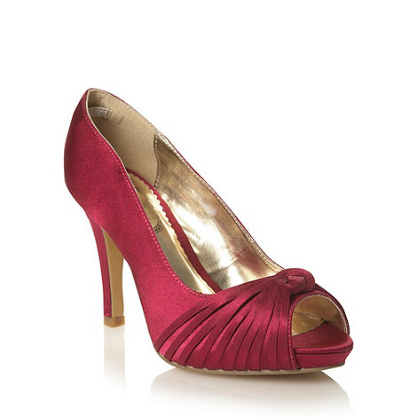 Debut - Dark pink high heel satin court shoes with knot trim