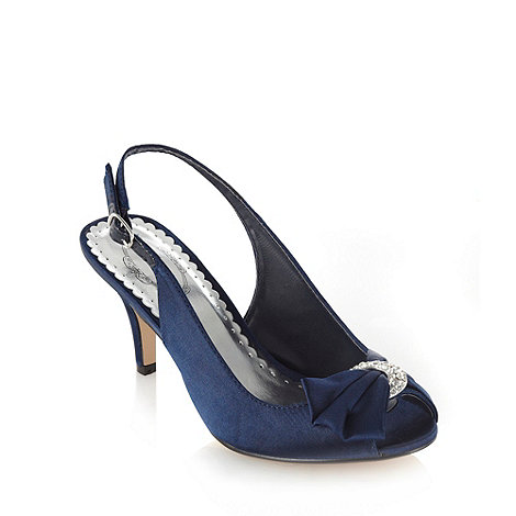 Debut - Navy satin mid heel slingback court shoes