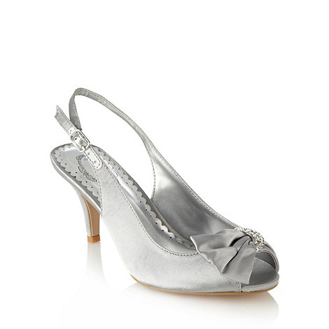 Debut - Silver satin mid heeled slingback shoes