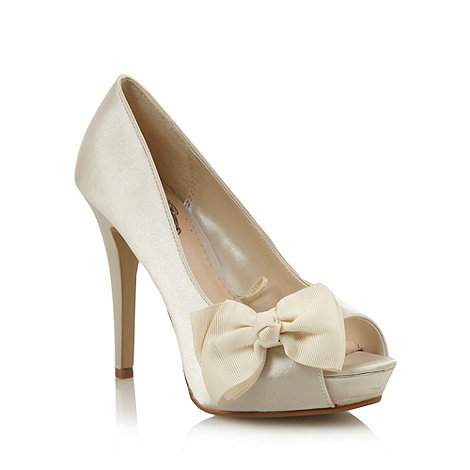 Debut - Ivory satin high heel court shoes with bow trim