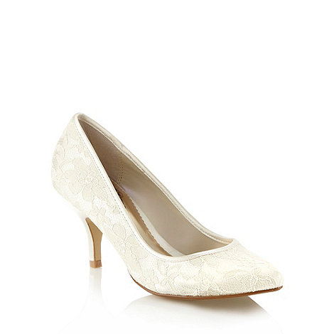 Debut - Ivory lace bridal mid court shoes