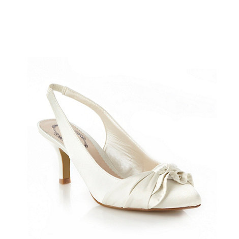 Debut - Ivory mid heel satin court shoes with knotted bow trim