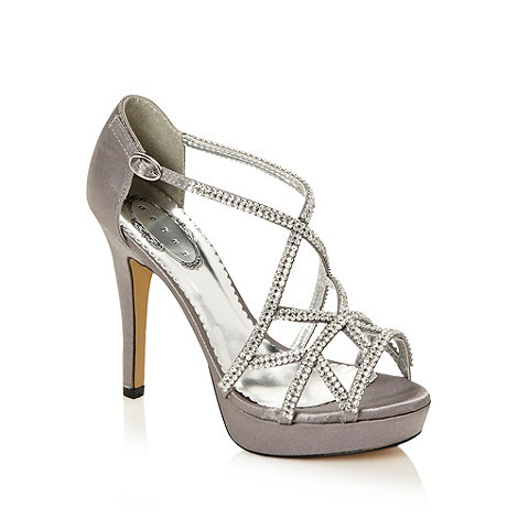Debut - Silver diamante caged high heeled sandals