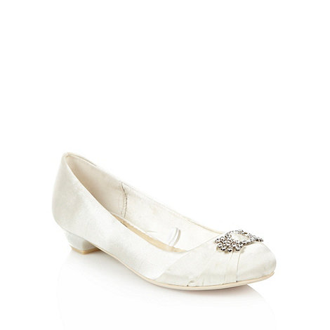 Debut - Ivory low heeled diamantee belted pumps