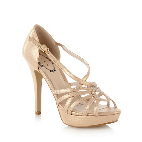 Debut - Gold high heel diamante strap platform sandals