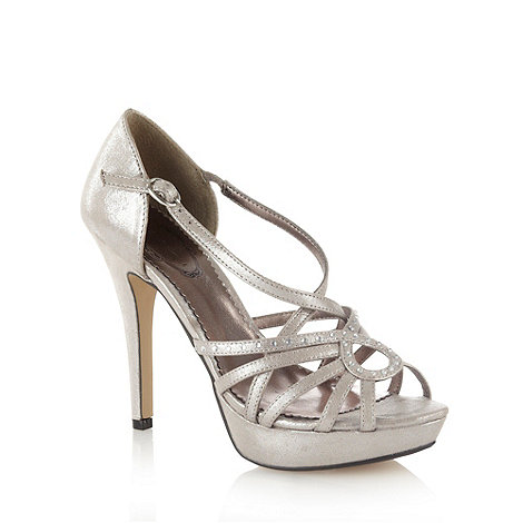 Debut - Metallic high heel diamante strap platform sandals