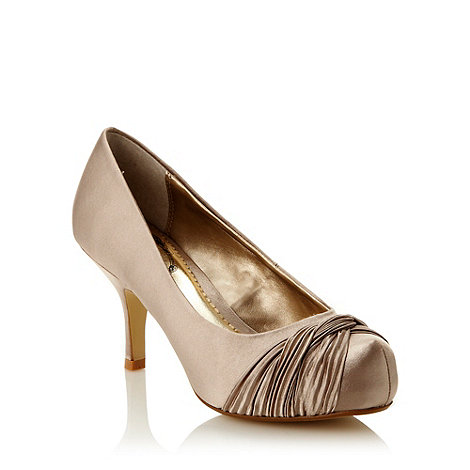 Debut - Gold pleated satin mid court shoes