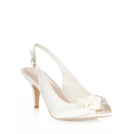 Debut - Ivory diamantee satin mid court shoes