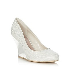 Debut - Ivory high wedge heeled lace court shoes