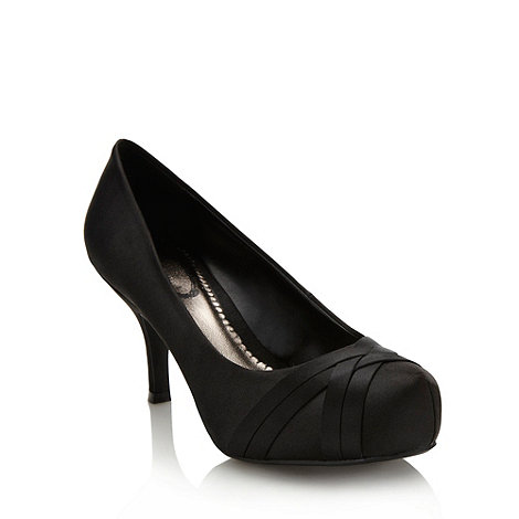 Debut - Black weave satin high court shoes