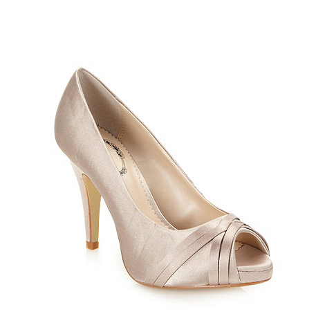 Debut - Mid rose woven satin high court shoes