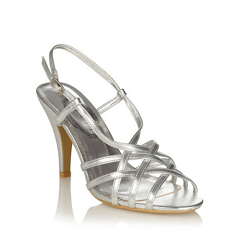 Debut - Silver high heel cross over strap sandals