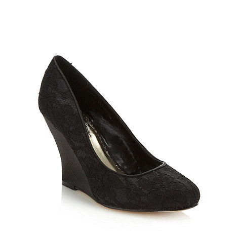 Debut - Black high wedge heeled lace court shoes