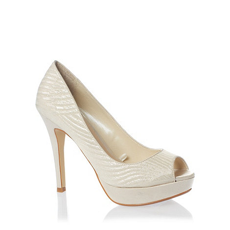 Debut - Cream satin high heel with gold sparkle detail