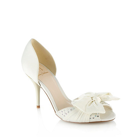 No. 1 Jenny Packham - Ivory high heel satin bow court shoes