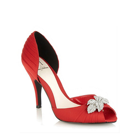 No. 1 Jenny Packham - Red high heel satin court shoes with diamante leaf trim
