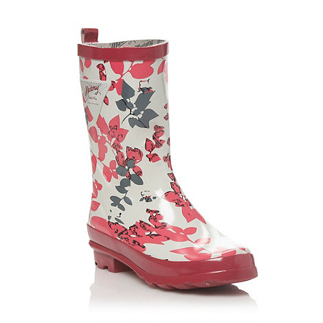 Mantaray - Pink floral low heeled round toed wellies