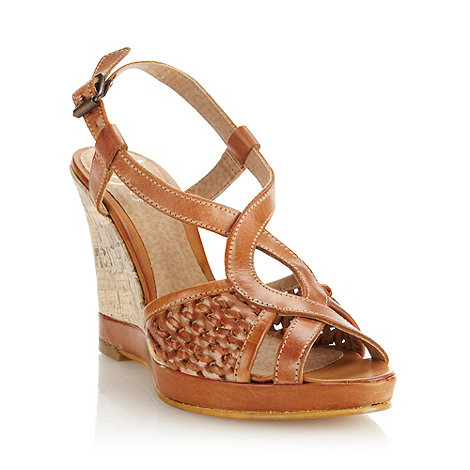 Mantaray - Tan leather high wedge heeled peep toe sandals with woven side panels