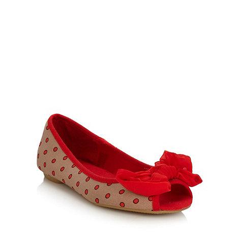 Mantaray - Beige spotted chiffon peep toe pumps