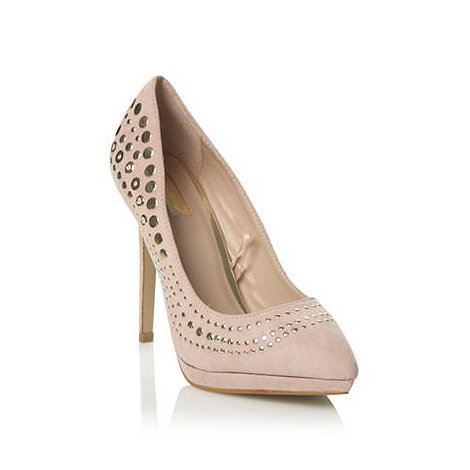 Star by Julien Macdonald - Beige suedette high heel studded court shoes