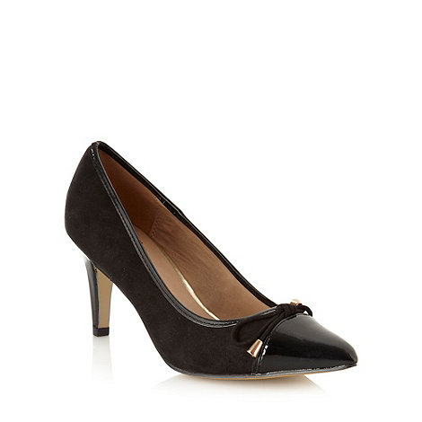 The Collection - Black suedette mid heel pointed toe court shoes